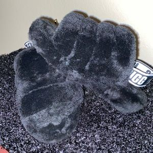 These are black Ugg sandals.
